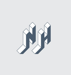 Nh - logo or 2-letter code isometric 3d font vector