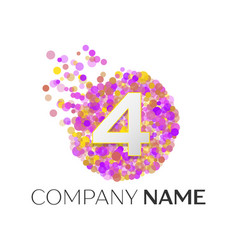 number four logo red particles and bubble dots vector image