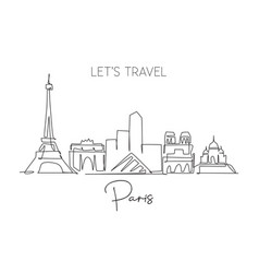 one single line drawing paris city skyline vector image
