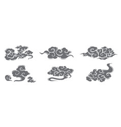 Oriental chinese silhouette cloud set vector