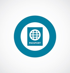 Passport icon bold blue circle border vector