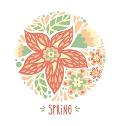 Pastel background with a circle of flowers vector image