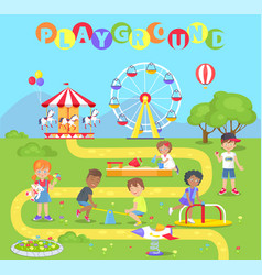 Playground with attractions full of little kids vector