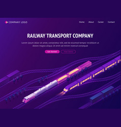 railway transport company isometric landing page vector image