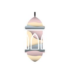 Ramadan kareem cutting lantern vector