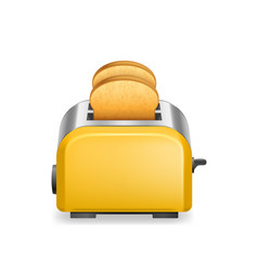 realistic detailed 3d glossy toaster with bread vector image