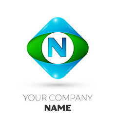 Realistic letter n logo in colorful rhombus vector