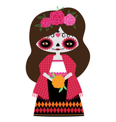 Red catrina doll vector
