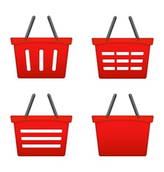 Red Shopping Basket Icons vector image