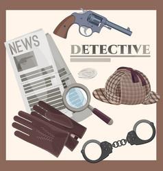 Retro detective accessories cartoon vector