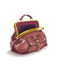Retro purse bag open vector