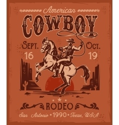 Rodeo poster with a cowboy sitting on rearing vector