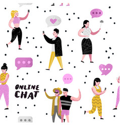 seamless pattern people using online chatting vector image
