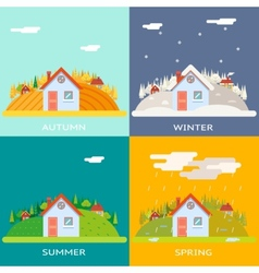 Seasons Change Autumn Winter Summer Spring Village vector image