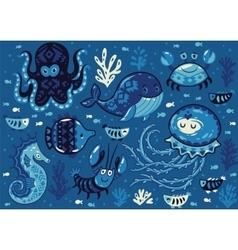 Set cute cartoon animals in nautical style vector