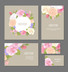 set of floristic elements of corporate identity vector image