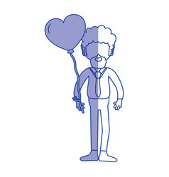Silhouette man with beard and heart balloon in the vector