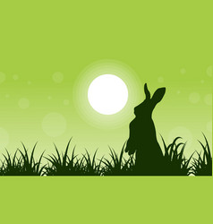 Silhouette of rabbit and grass art vector