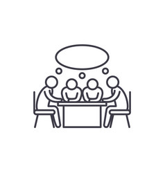small business meeting line icon concept small vector image