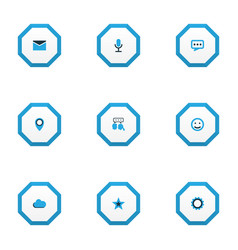 social icons colored set with talking gear vector image