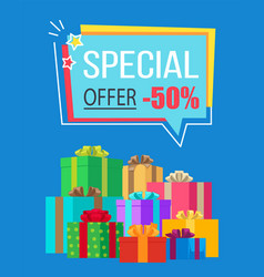 Special offer half price off vector