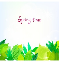 Spring card background with green leaves vector