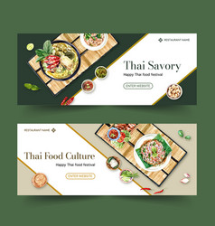 Thai food banner design with green curry crispy vector