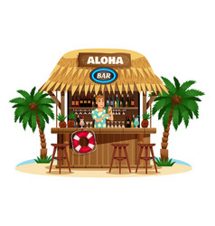 Tropical bungalow bar vector