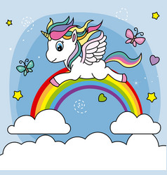 Unicorn flying over the rainbow vector