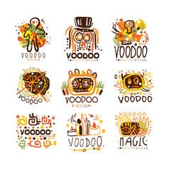 voodoo and magic set for label design spiritual vector image