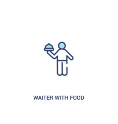 Waiter with food tray concept 2 colored icon vector