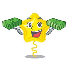 With money bag star balloon in the cartoon shape vector