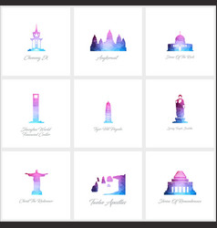 world fomous landmarks icons set design vector image