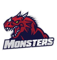 angry dragon head vector image vector image