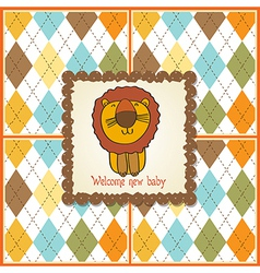 childish baby shower card with cartoon lion vector image vector image