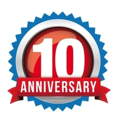 Ten years anniversary badge with red ribbon vector image vector image