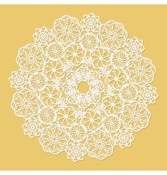 White lace serviette on yellow background vector image