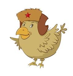 bird in fur hat vector image vector image