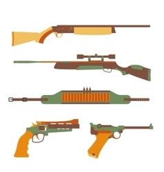 Firearms set design flat vector image