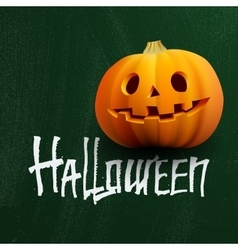 Pumpkin on the chalkboard with Halloween lettering vector image