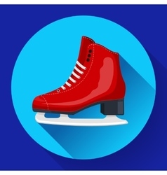 Red classic ice figure skates icon Sport vector image vector image