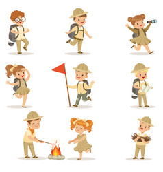 set of girls and boys in scout costumes vector image