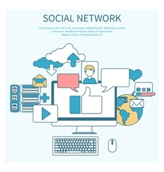 Social networks Cloud of application icons vector image vector image