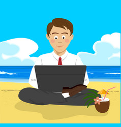 young man working with laptop at tropical beach vector image
