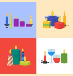 cartoon candles banner card set vector image vector image