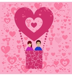 Lovers n balloon Valentine s Day vector image vector image