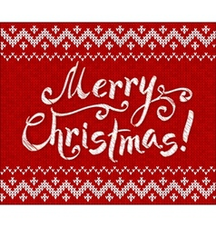 Merry Christmas knit on red background vector image