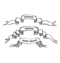 set of vintage ribbon banners vector image