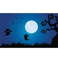 Silhouette of ghost and bat halloween scenery vector