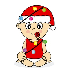 baby with christmas lights vector image